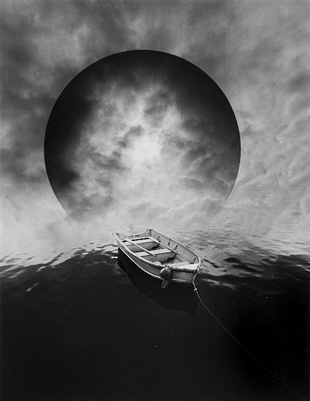 Jerry Uelsmann, Untitled, 1982- boat with cloud sphere silver gelatin print