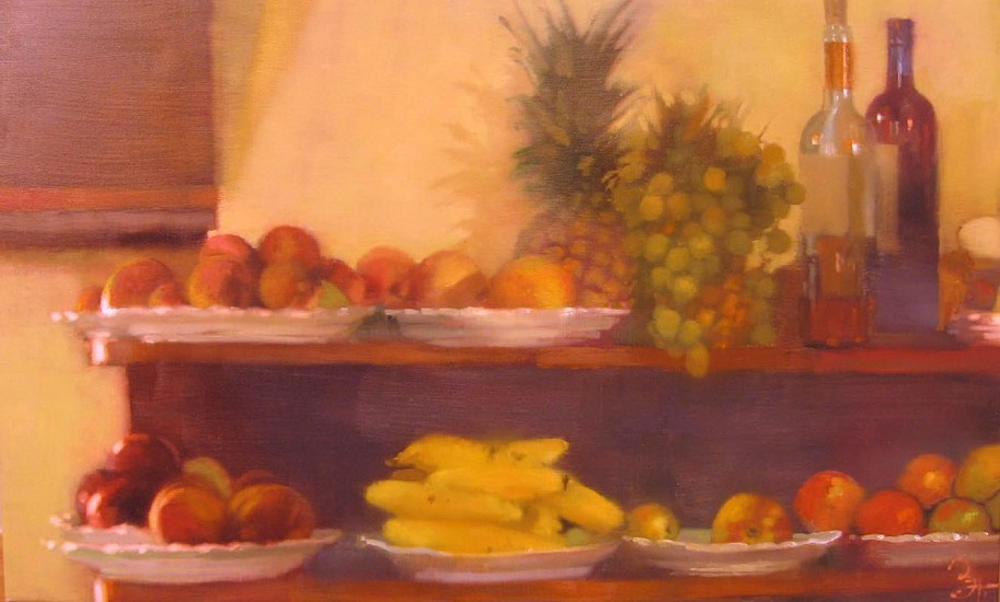 Bernie Fuchs (1932 - 2009), Fruit and Wine at  Cafe 59 2004, oil on linen