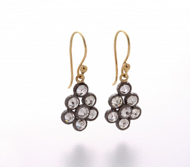 Todd Pownell, Earrings -  7 inverted white diamonds in pear shaped cluster drops set in 14k darkened gold bezels with 18k yellow gold jump ring and ear wires. Approx 3.00 - 3.50cts jewelry
