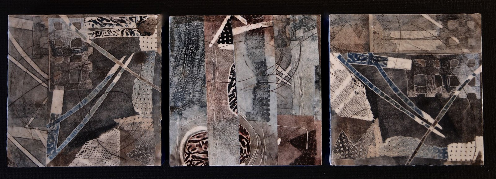 Judith Kohin, Flutter, Triptych 2016, Mixed Media Encaustic