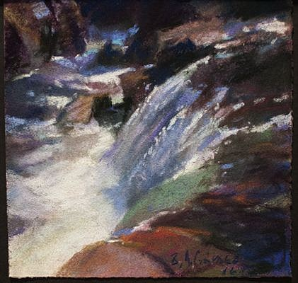 Bruce Gomez, River Rushing 2016, pastel