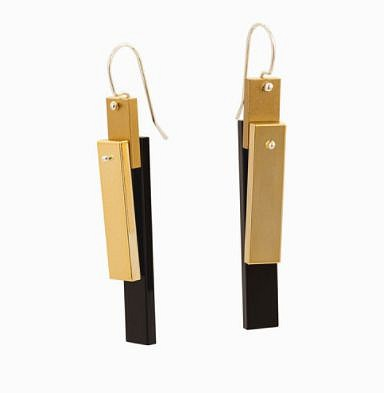 Emiko Oye, earrings – Chrome Collection Limited Edition —GOLD CHROME, repurposed chromed LEGO®, Argentium silver 2016, jewelry