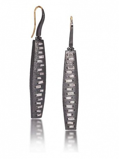 Elizabeth Garvin, Earring - Ice Earring #5 in oxidized sterling, set with 36 total white diamond baguettes. Richly textured, hinged bail, 18k gold<br /><br />