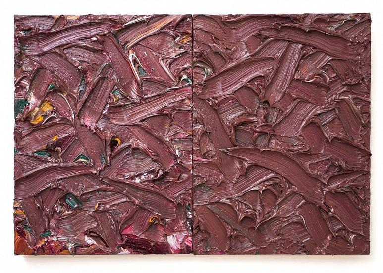 James Hayward, ABSTRACT DIPTYCH #28 2016, oil on canvas on wood panels