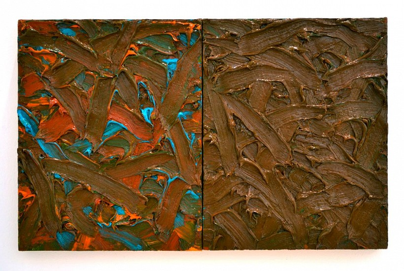 James Hayward, ABSTRACT DIPTYCH #45 2017, oil on canvas on wood panels