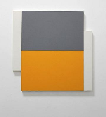 Scot Heywood, Poles - White, Grey, Yellow 2012, acrylic on canvas on panel