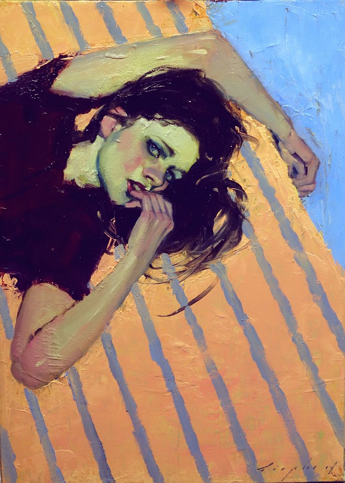 Malcolm Liepke, Striped Bed 2018, oil on canvas