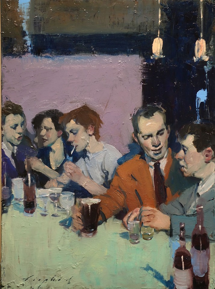 Malcolm Liepke, At The Bar 2018, oil on canvas
