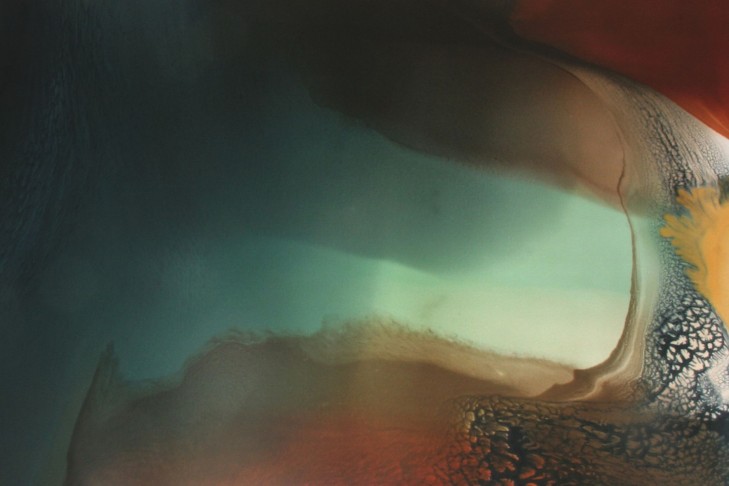 Jennifer Wolf, Landscape #1 2013, minerals and dyes on canvas over panel