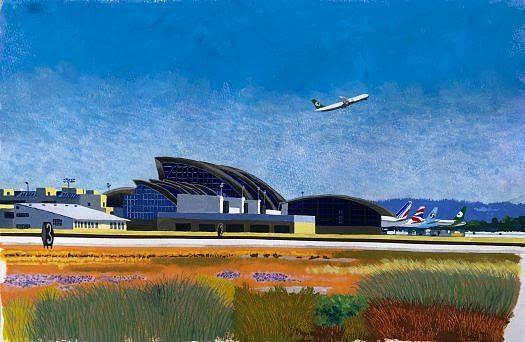 Cole Case, Bradley International Terminal Quaranite Walk 2020, acrylic gouache on paper